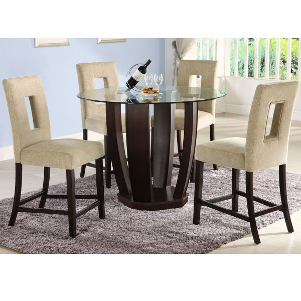 Caruaru Counter Height Dining Set The Contrast Of Dark Espresso Finish And Off