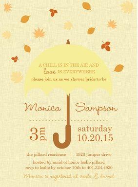 leaves umbrella bridal shower invite