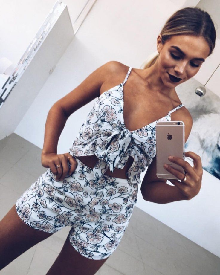 #spring #outfits White Shani Floral Playsuit 💕