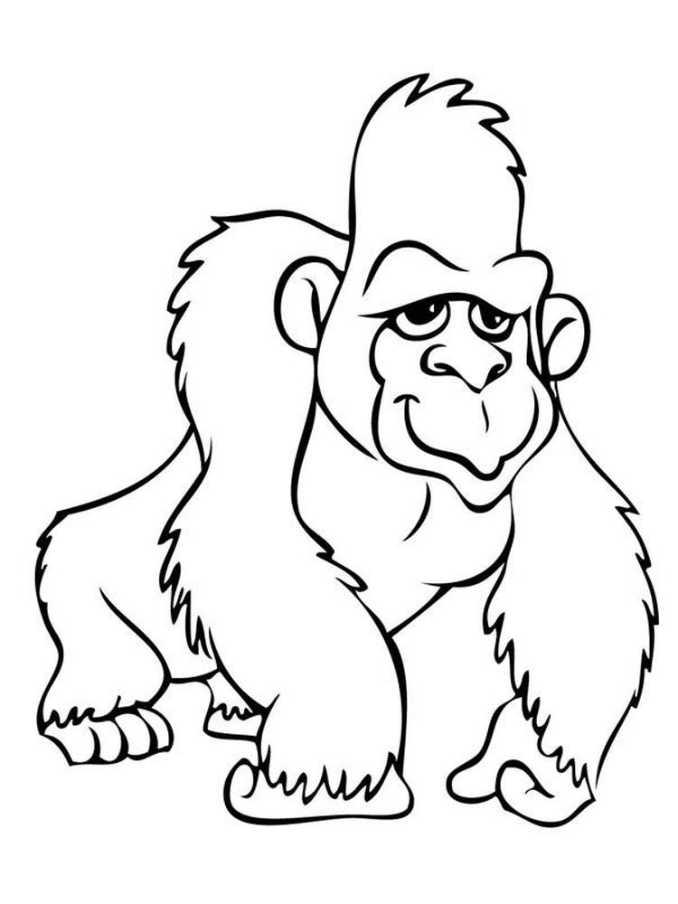 Gorilla Coloring Pages Easy