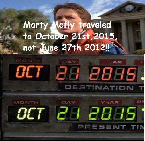 Marty Mcfly traveledw with doc to October 21,2015 not today!