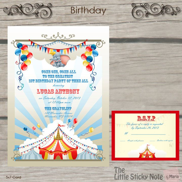 Dumbo Theme Birthday Invitations By Thelittlestickynote On