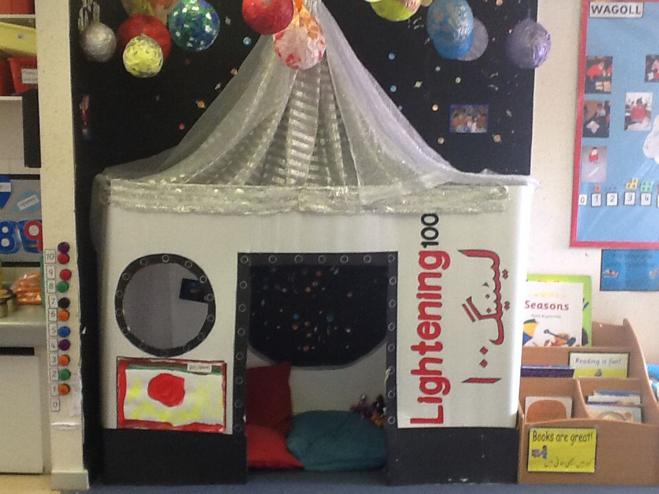 Reception book corner organisation pinterest book for Space themed book corner