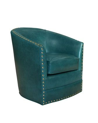Best Bryn St Clair Peacock Blue Leather Swivel Chair With 400 x 300