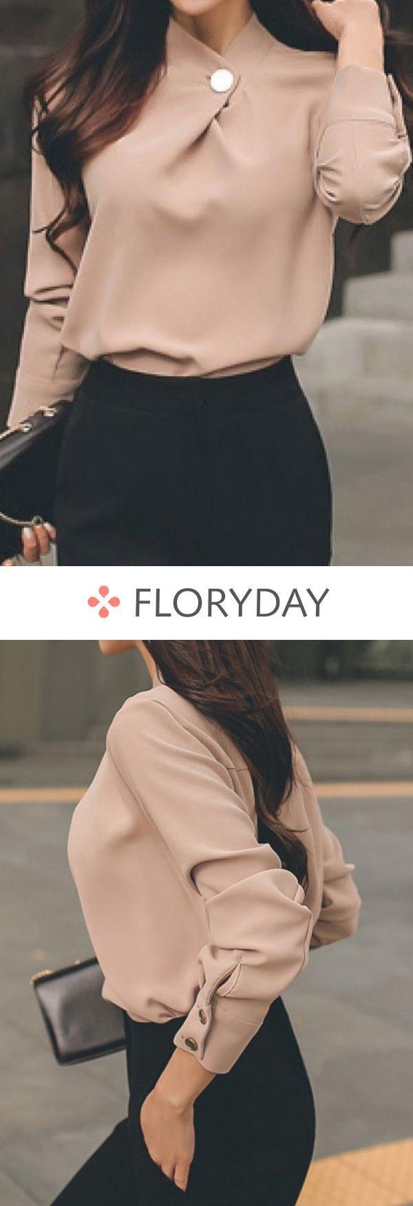 Solide Elegante Bluse Mit Hohem Halsausschnitt Solide Elegante Bluse mit hohem Halsausschnitt Woman Shirts women's blouses and tops