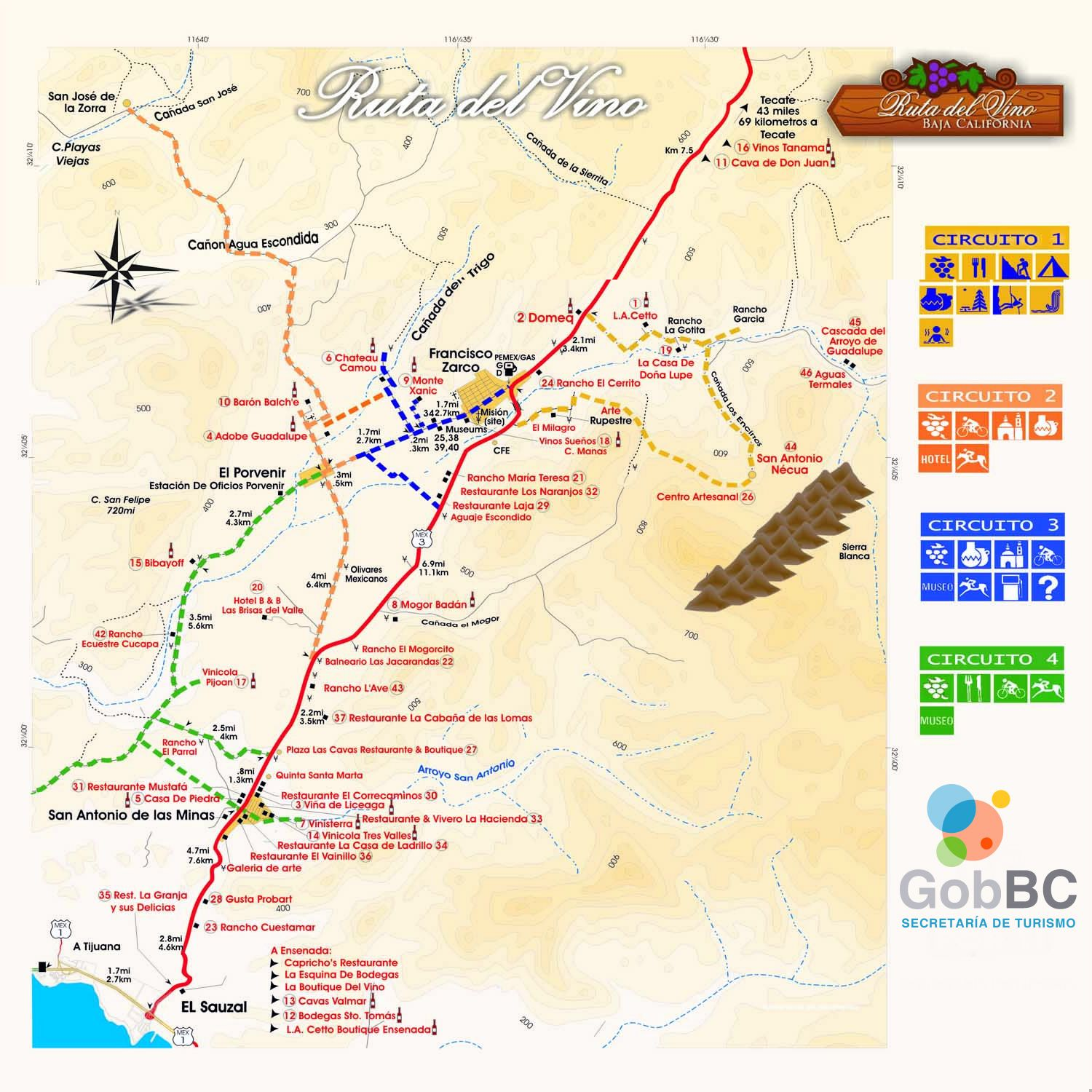 Map Of Wine Route Mapa Ruta Del Vino North Of Ensenada In