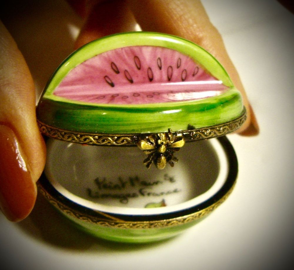 Visit me on eBay... Limoges France French Watermelon Fruit Trinket Box Peint Main Signed Limoge