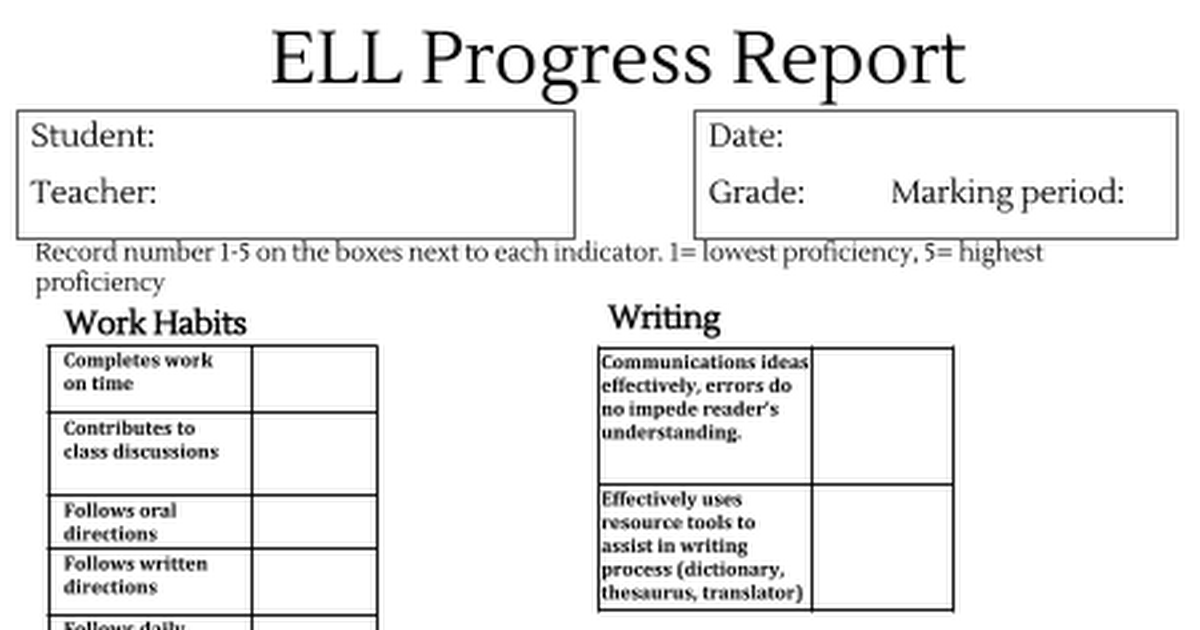 Ell Progress Report Draft Progress Report Report Card Comments Work Habits