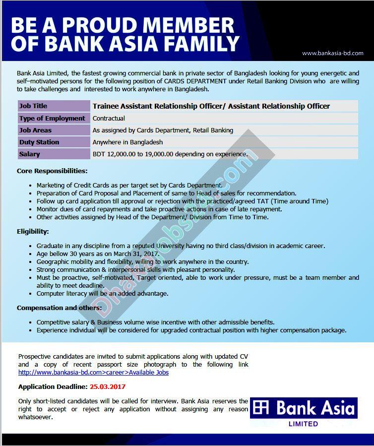 Bank Asia Limited Job Circular 2018 Job circular, Job
