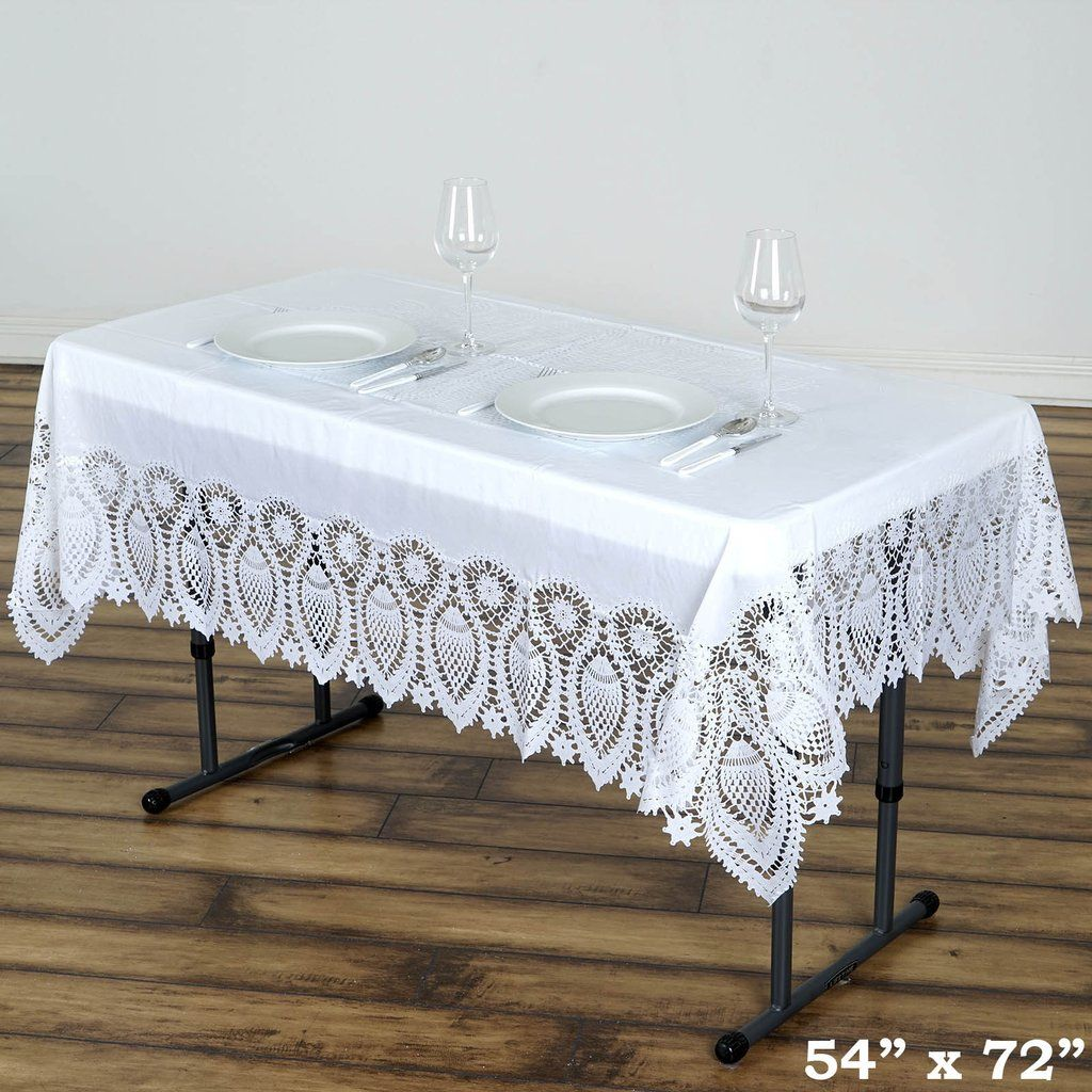 54 X 72 White 10 Mil Thick Waterproof Tablecloth Pvc Rectangle Disposable Tablecloth In 2020 Vinyl Tablecloth Table Cloth Waterproof Tablecloth