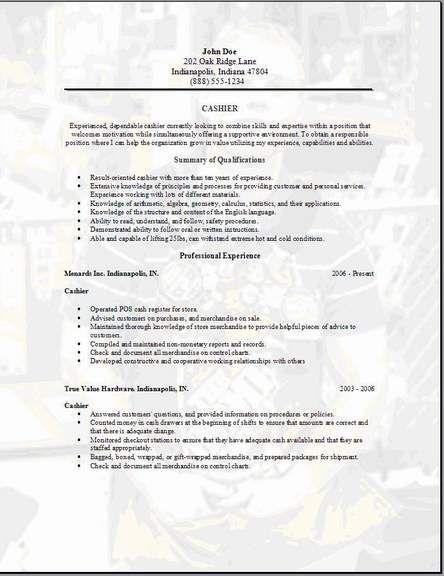 sample resume for cashier example Home Design Idea Pinterest