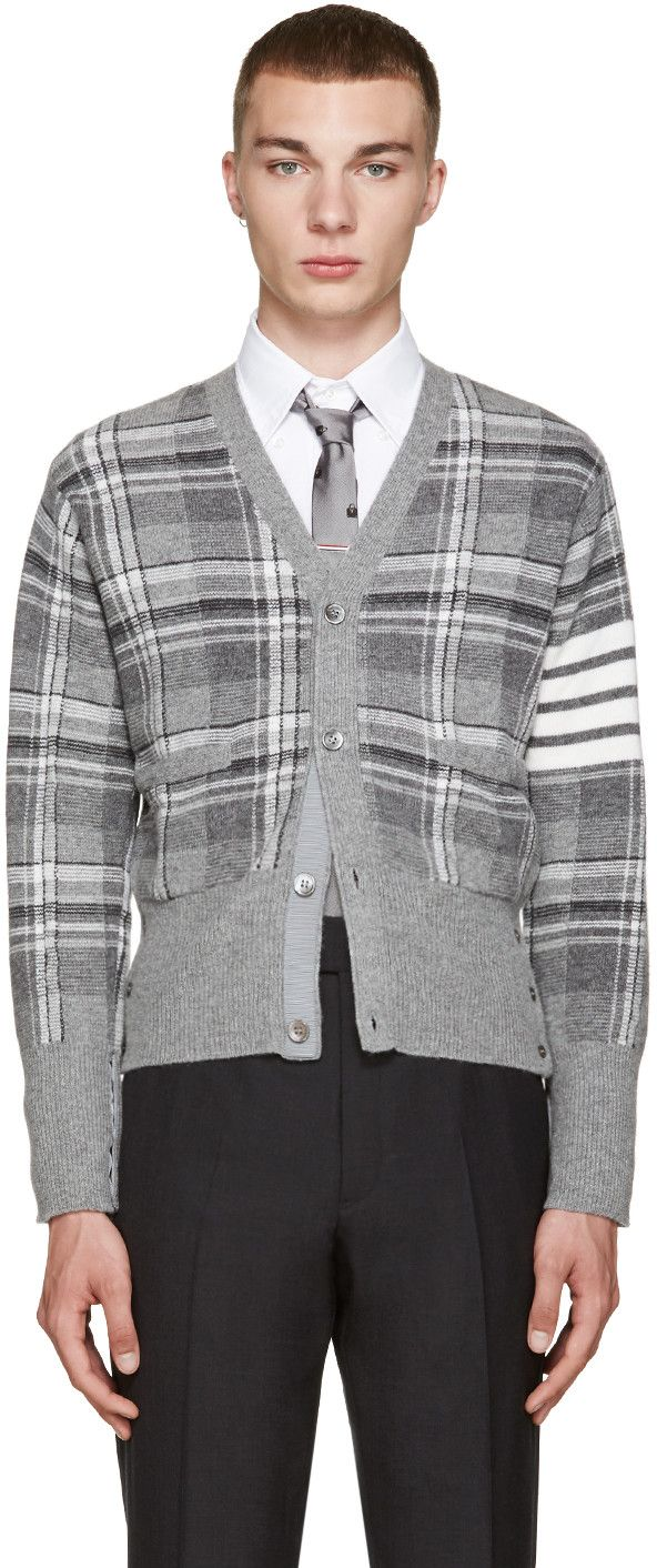 Thom Browne - Grey Tartan Plaid Cardigan | Cardigans For Men ...