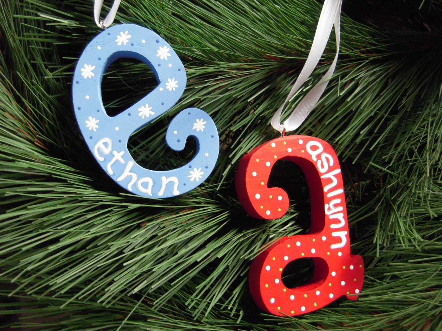 cute initial ornament - paint wooden letter, then use paint pen to write name on it, and snowflakes or polka dots