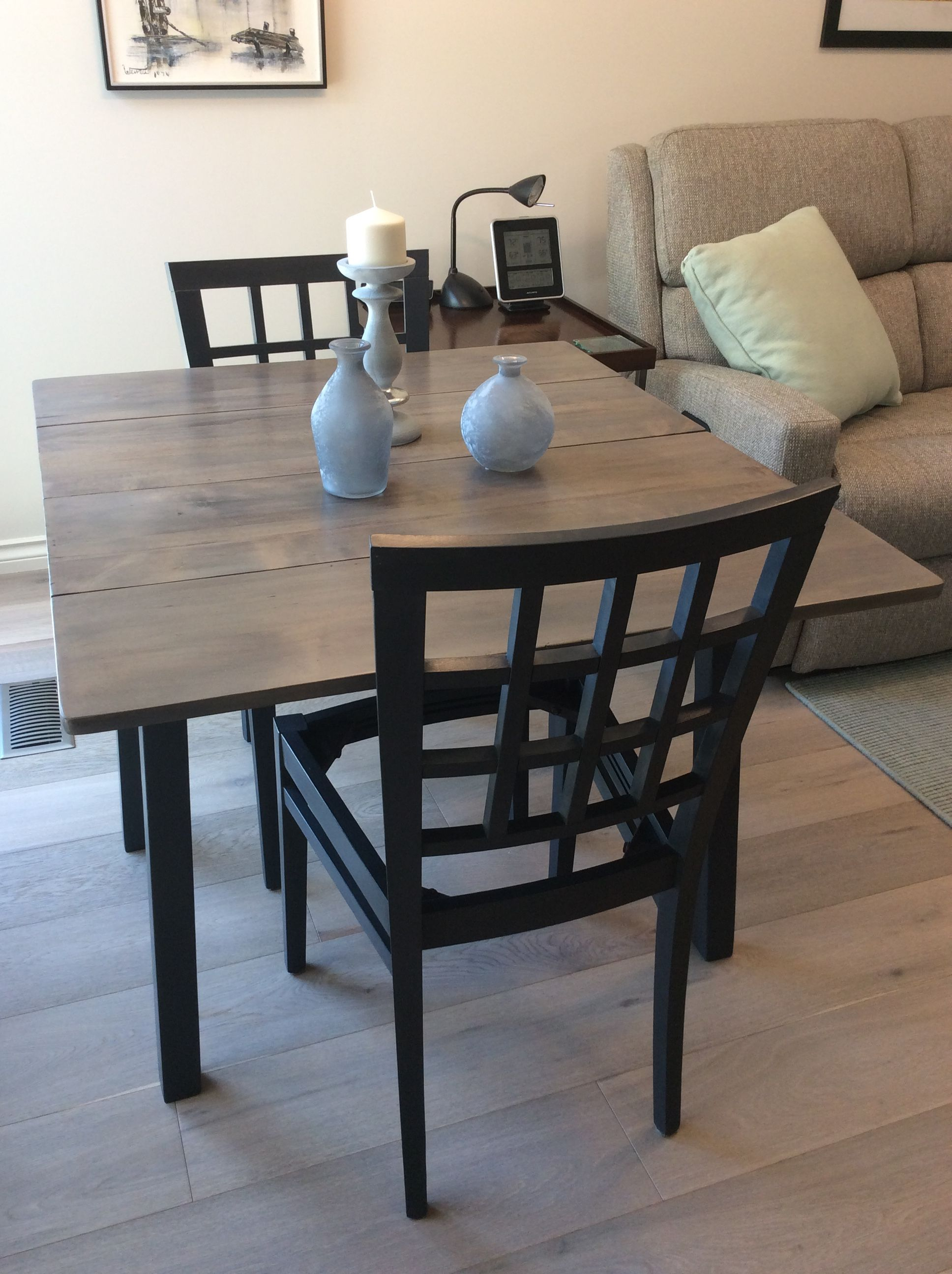 Painted Table And Chairs With Annie Sloan Chalk Paint In Graphite Washed Top