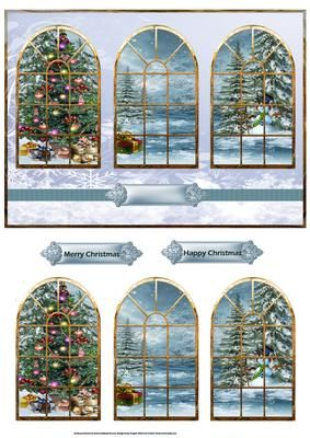 Christmas trees and presents windows card on Craftsuprint designed by Angela Wake - Christmas trees and presents windows card with window toppers - Now available for download!