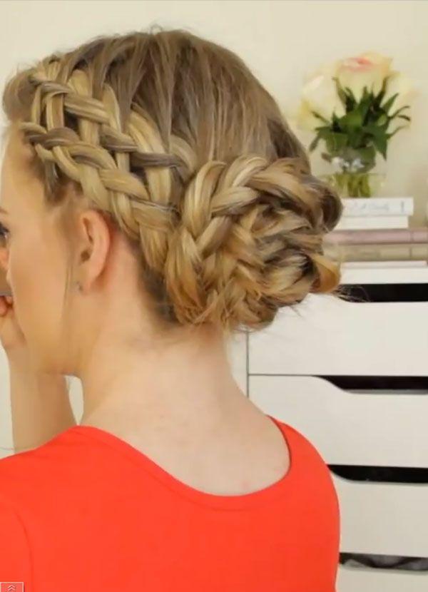 3 Pretty French Braid Bun Ideas From Youtube Braided Bun Hairstyles French Braid Buns French Braid Styles