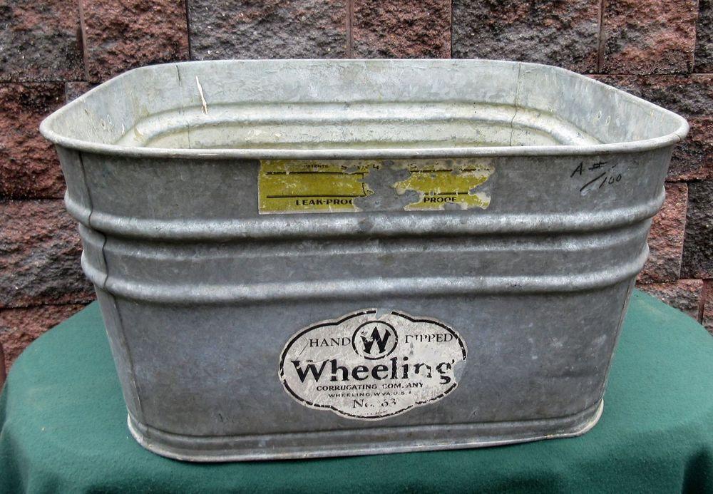 Vintage Wheeling Metal Galvanized Square Wash Tub Beer Party Bucket Garden Bucket Gardening Party Bucket Wash Tubs