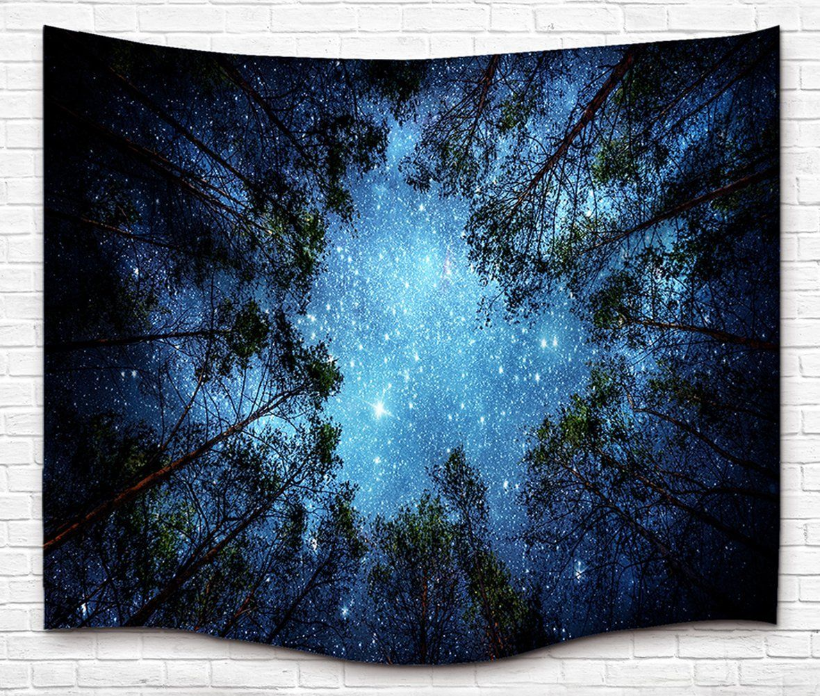 Amazon.com: Starry Forest Tapestry, 3D Printing Wall Hanging ...