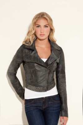 Guess black studded leather jacket