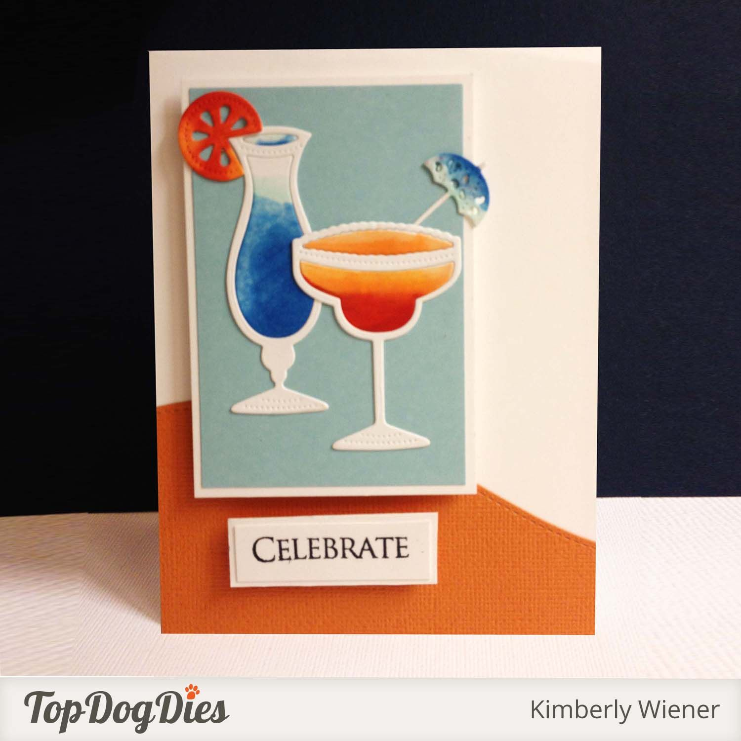 This designer used a cool watercolor effect with our Top Dog Dies Party Drinks Die Set.  What a fun card!