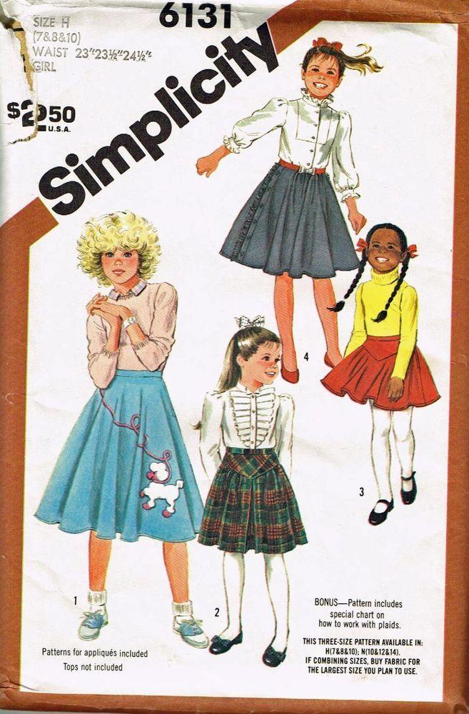 Girls Poodle Skirt Pattern Simplicity 6131 1983 Vintage Size 7 8 10 Unucut