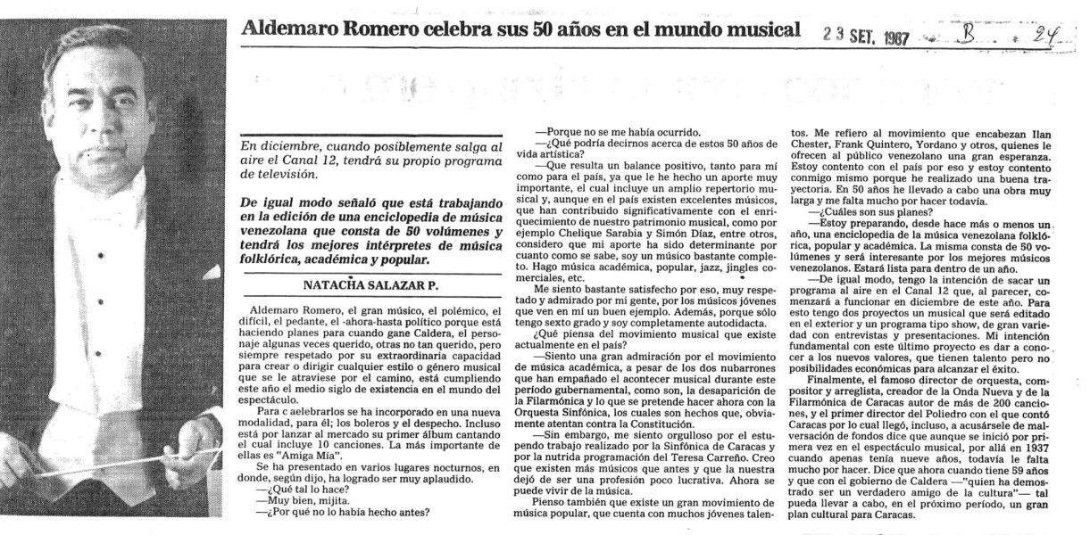 50 años de trayectoria musical de Aldemaro Romero. Publicado el 23 de septiembre de 1987.