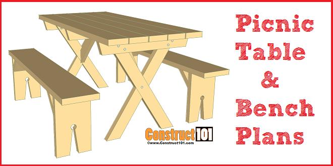 Picnic Table Plans Detached Benches - PDF Download