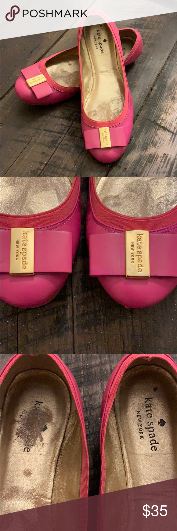 02cf87576141 Authentic Kate Spade Pink Ballet Leather Flats PLEASE SEE PICS FOR DAMAGE Authentic  Kate Spade Pink