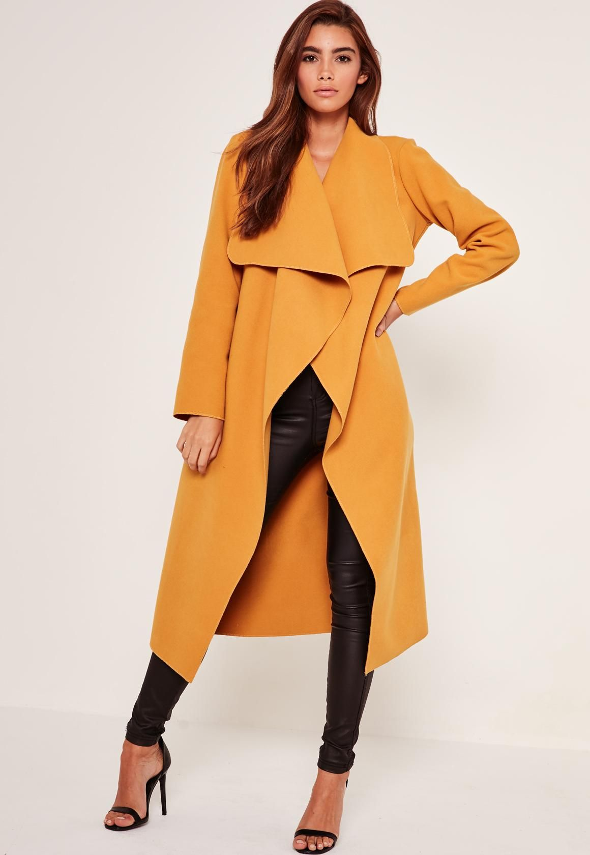 Missguided - Oversized Waterfall Duster Coat Mustard