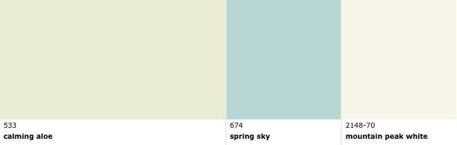 Benjamin Moore Calming Aloe Spring Sky And Mountain Peak White