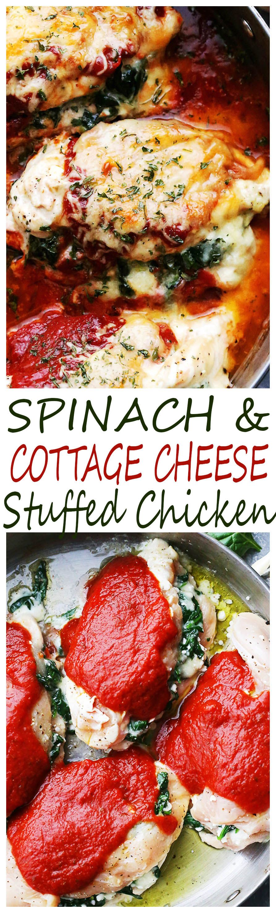 Saucy Spinach and Cottage Cheese Stuffed Chicken – Easy, delicious, yet healthy stuffed chicken breasts with spinach and cottage cheese all baked in a hot and bubbly pasta sauce.