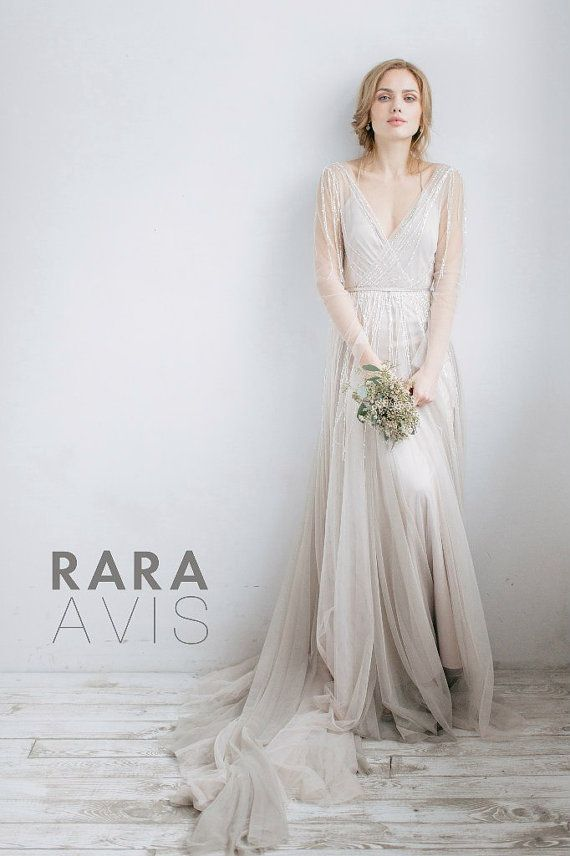Wedding dress OLIVIA, long sleeve wedding dress, boho wedding dress ...