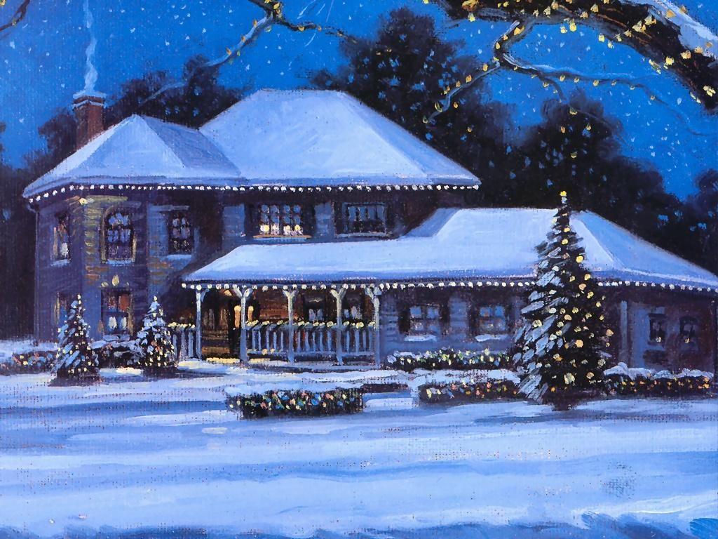 A Landscapes Christmas Picture Entitled Xmas Scene Oil Painting Description Christmas Landscape Winter Scenery Pictures Winter Wallpaper