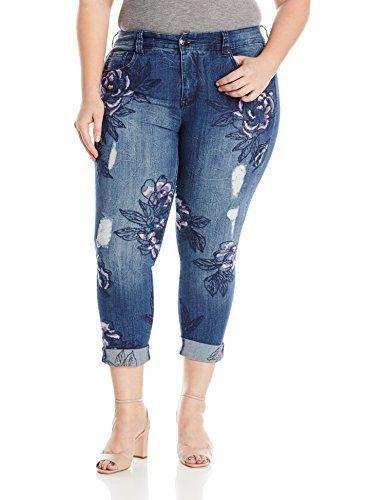 e460ab7578d Melissa McCarthy Seven7 Women s Plus Size Skinny Frontal Flower Embellished  Jean -45.75