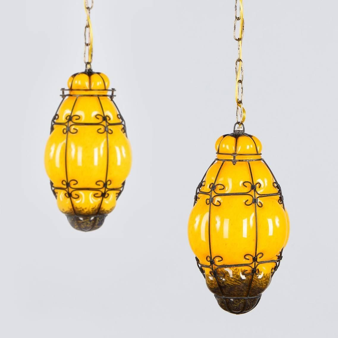 Pair of midcentury caged murano glass pendant lanterns s
