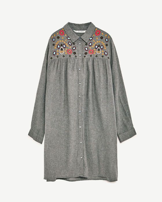 Image 2 of SHIRT DRESS WITH EMBROIDERY from Zara | Fashion ...