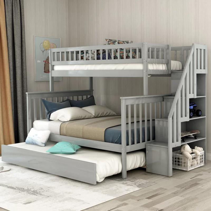 Harriet Bee Hazzard Stairway Twin Over Full Bunk Bed With Trundle Reviews Wayfair In 2020 Bunk Beds With Storage Bunk Bed With Trundle Bunk Bed Designs