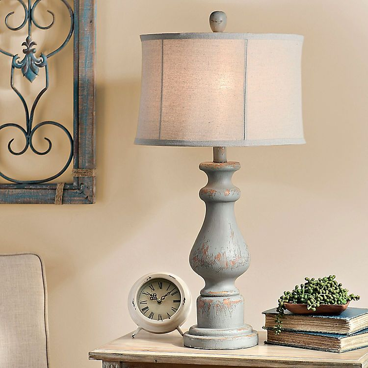 Distressed Soft Blue Table Lamp in 2020 Blue table lamp
