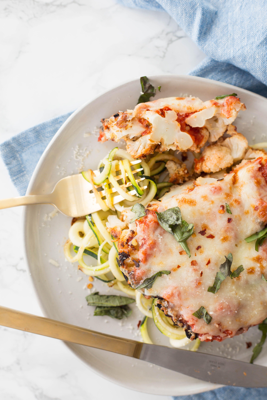 Cauliflower Parmesan With Zucchini Noodles Recipe Spiralizer