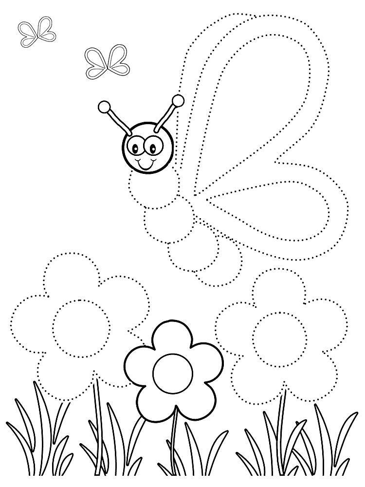 Название: Раскраска обведи по точкам. Категория: Бабочки ...