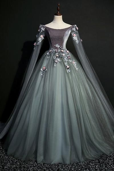 Green Gray Tulle Long Sleeve A Line Evening Dress Long Velvet Prom Dress Prom Dresses Long With Sleeves Prom Dresses With Sleeves Prom Dresses Vintage