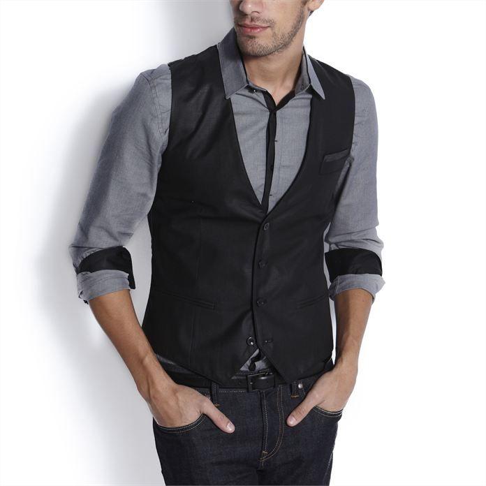 Burlady Homme Gilet Costume Veste sans Manches Col en V Mode Classique Gilets Mariage Business Veste