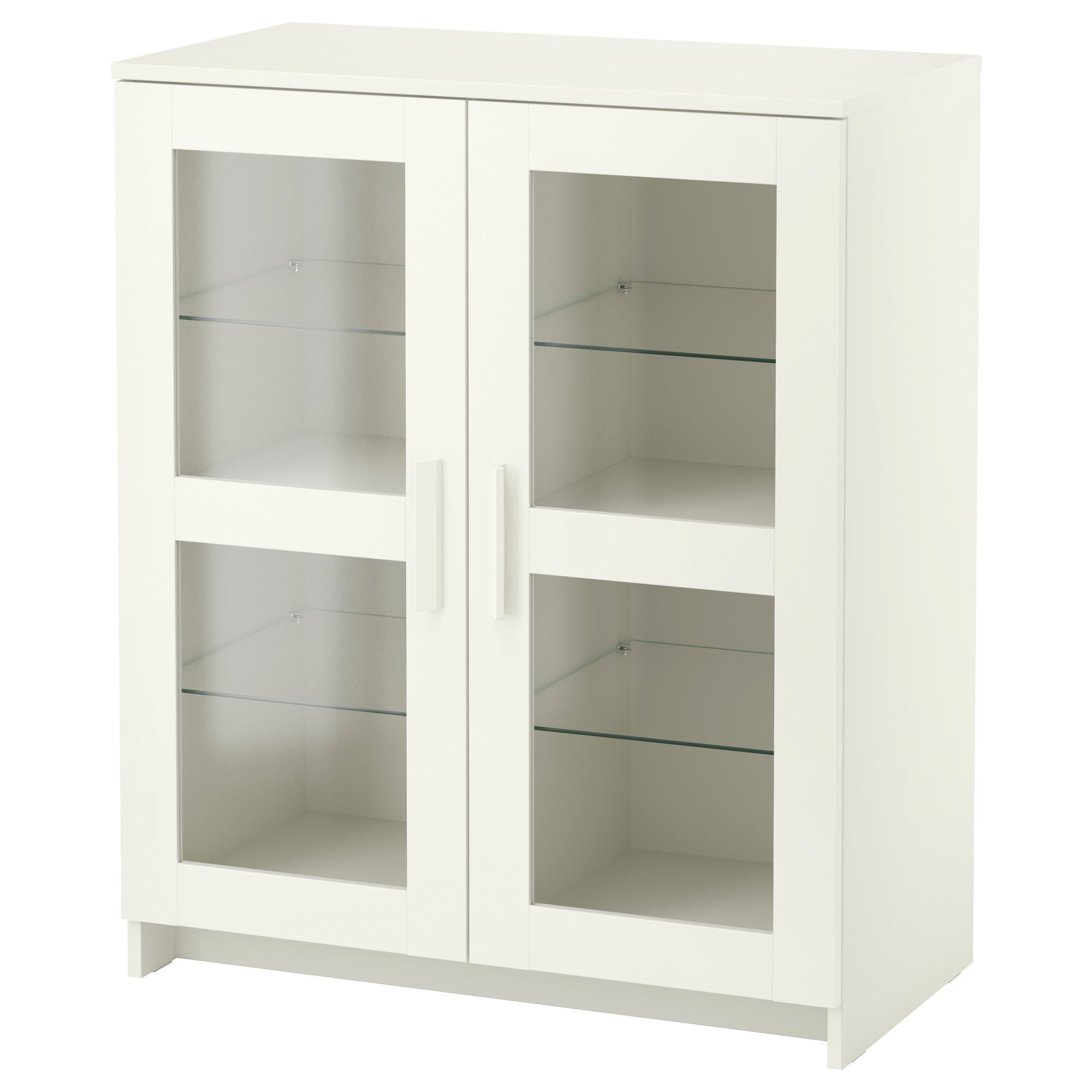 BRIMNES Cabinet with doors, glass, white Doors, Shelves and Storage