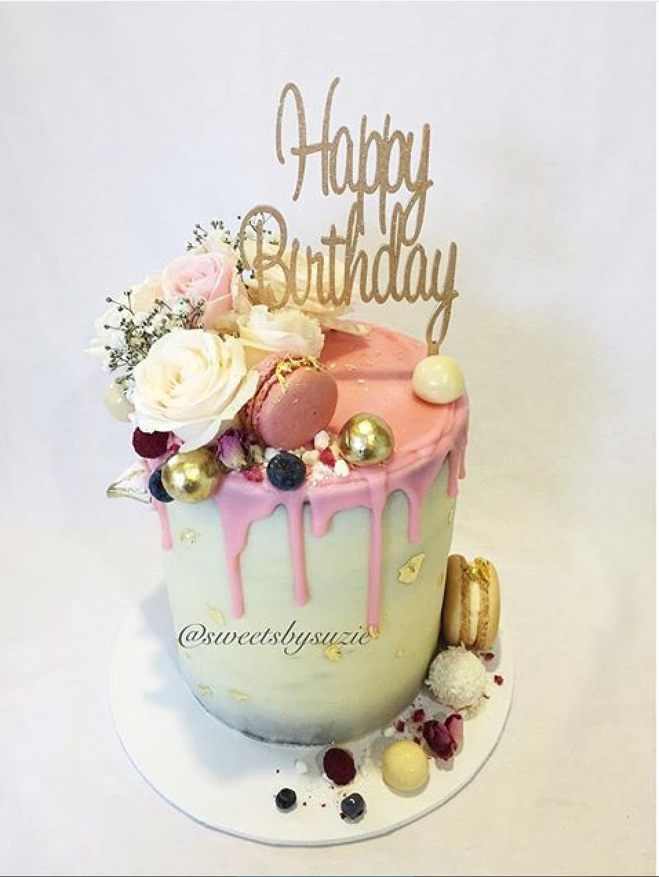Pink Drip Rustic Birthday Cake made by Sweetsbysuzie Birthday