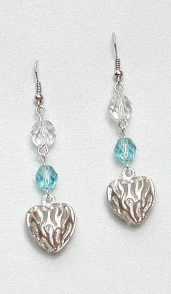74ec03035 Silver Heart Earring, Gift for Her, Wedding Earring, Modern Earrings, Blue  Topaz, Silver Oval Hoops,