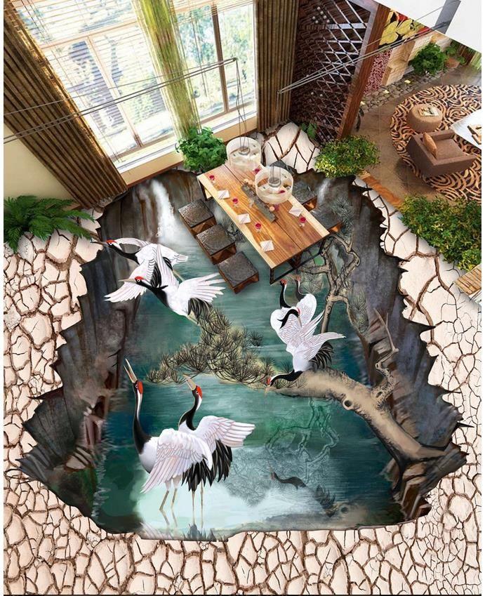 (Buy here: http://appdeal.ru/20gm ) 3d photo wallpaper custom 3d flooring painting wallpaper murals Taphrogenic streams pine crane 3d floor 3d wallpaer living room for just US $61.11
