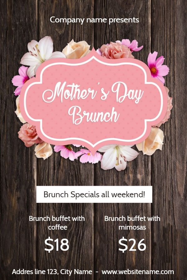 Mother S Day Brunch Poster Design Click To Customize Mothers Day Brunch Mothers Day Poster Design