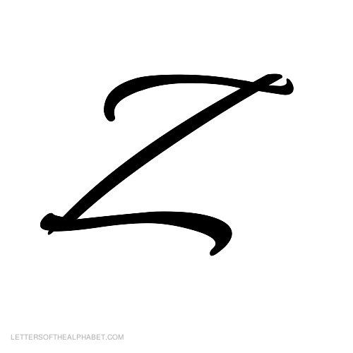 alphabet letters black cursive z with a small bear next to