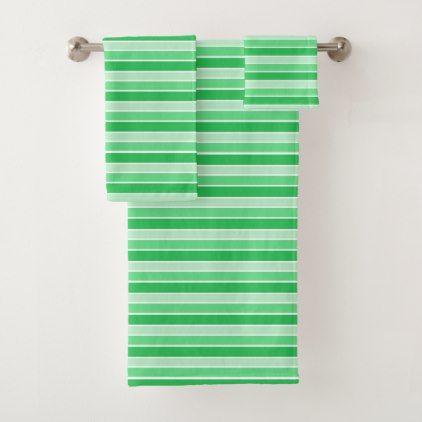 Green Horizontal Stripes Bath Towel Set Zazzle Com Towel Set