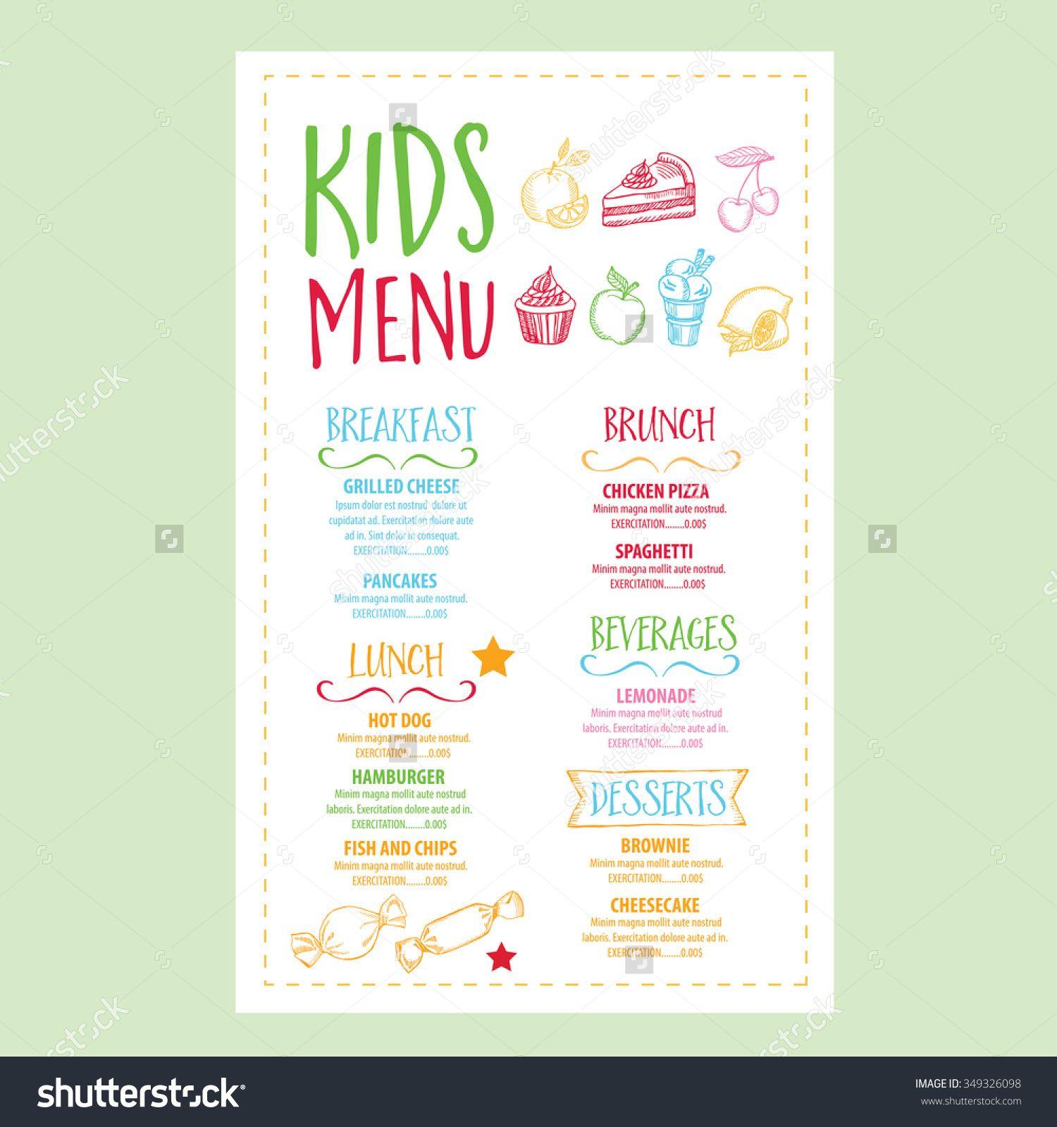 Image Result For Kids Menu Designs